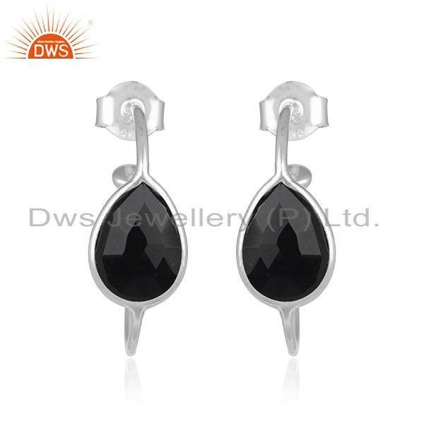 Black Onyx Gemstone Handmade 925 Fine Sterling Silver Hoop Earrings