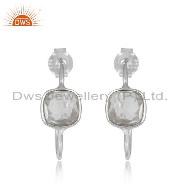 Crystal Quartz Gemstone Sterling 925 Fine Silver Girls Hoop Earrings