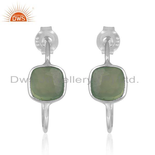 Prehnite Chalcedony Gemstone 925 Fine Silver Handmade Hoop Earrings