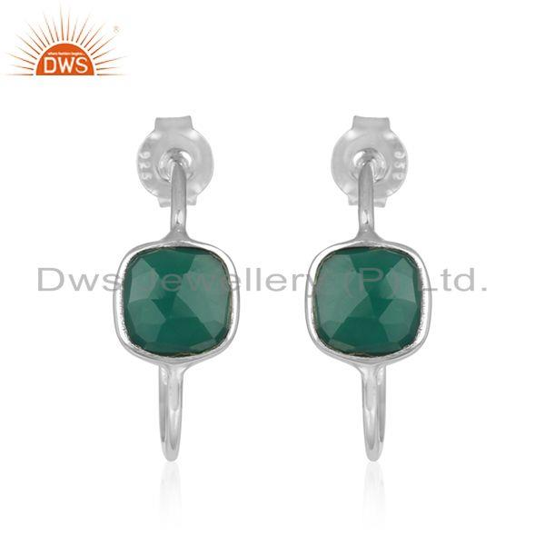 Green Onyx Gemstone Sterling Fine Silver Hoop Earrings Wholesaler