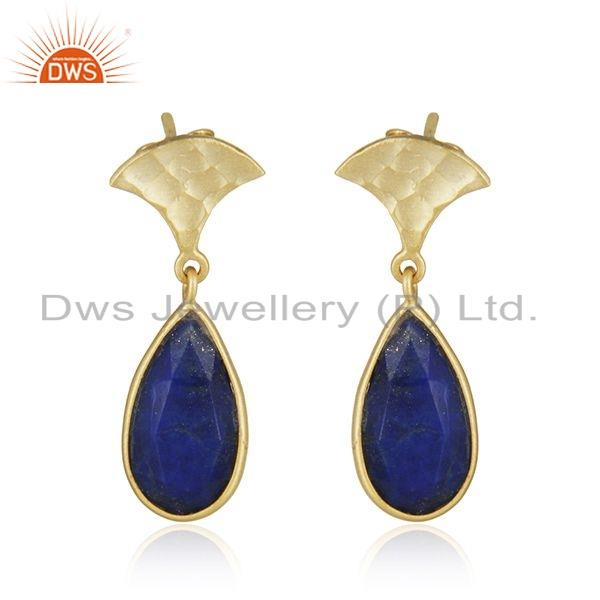 Natural Lapis Lazuli Gemstone Yellow Gold Plated 925 Silver Designer Earrings Jewelry