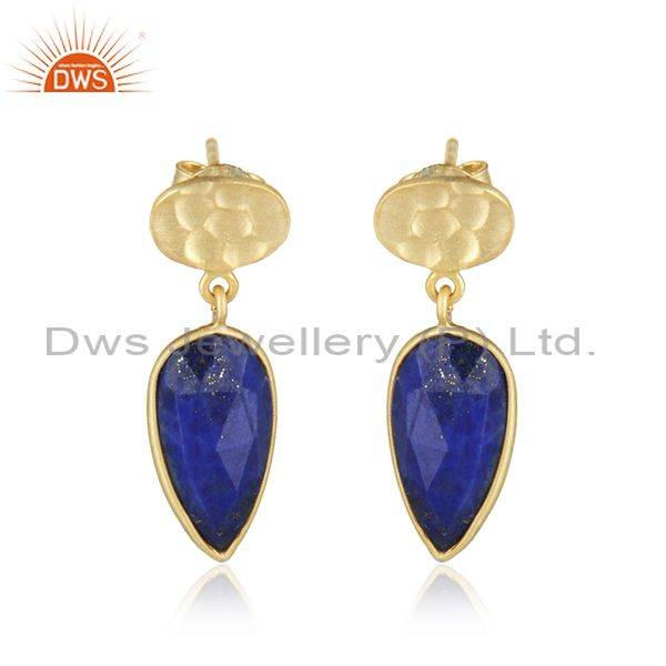New Arrival Designer Yellow Gold Plated 925 Silver Lapis Lazuli Gemstone Girls Earrings Jewelry