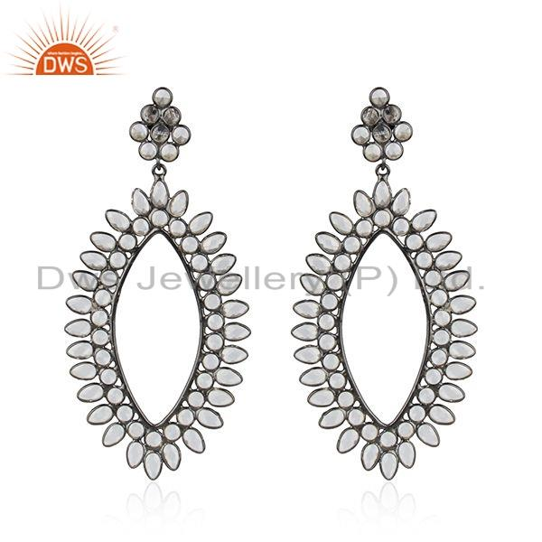 Antique Rhodium Plated Silver White Zircon Gemstone Womens Earrings