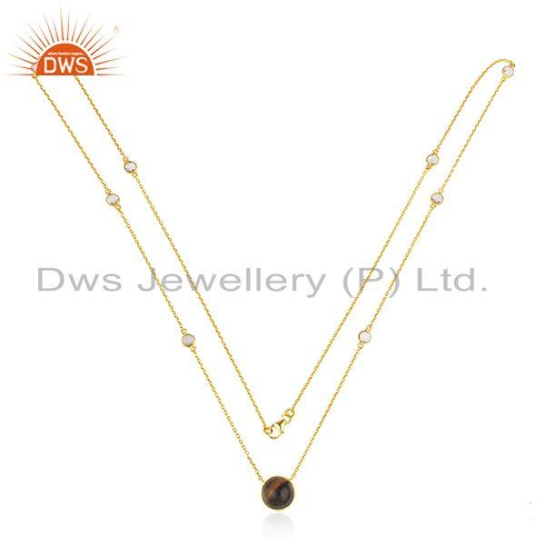 Natural Tiger Eye Gemstone Designer Gold Plated Silver Chain Necklaces