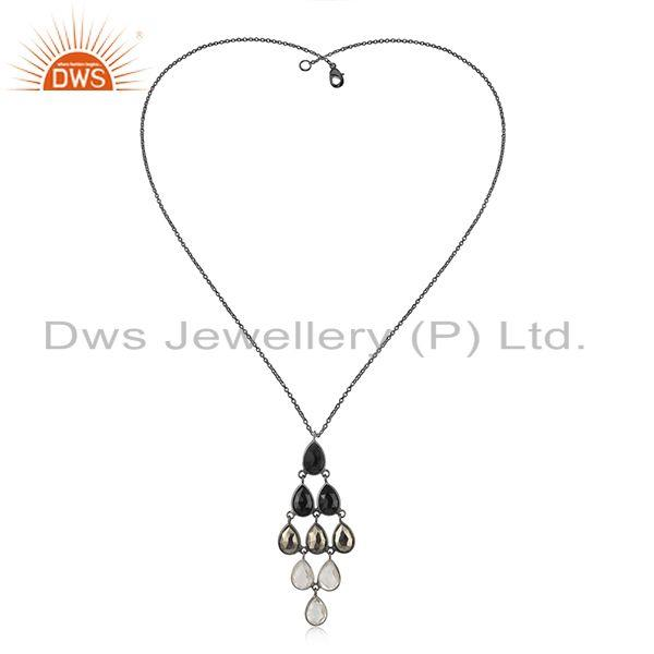 Natural Gemstone Black Sterling 925 Silver Chain Pendant Supplier