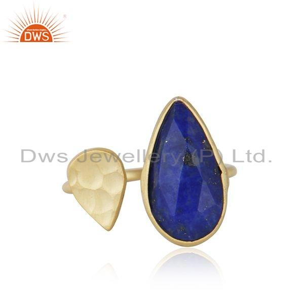 Designer 18k Gold Plated 925 Sterling Silver Natural Lapis Lazuli Gemstone Ring Jewelry