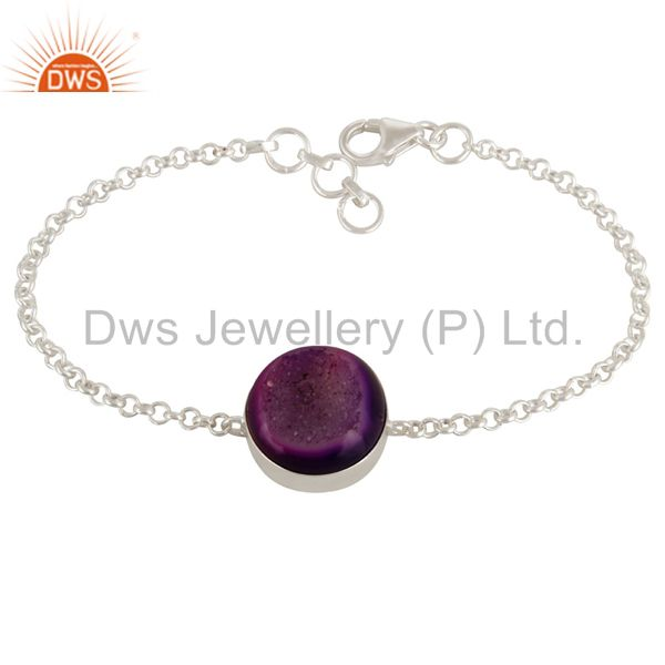 Natural Purple Druzy Agate 925 Sterling Silver Chain Bracelet