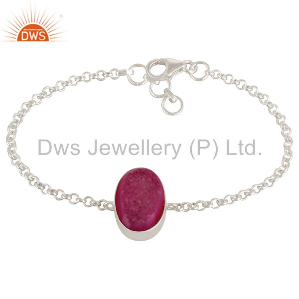 Oval Shaped Pink Druzy Agate Sterling Silver Bezel-Set Chain Bracelet