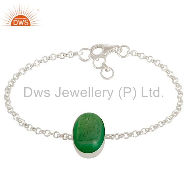 Oval Shaped Light Green Druzy Agate Sterling Silver Bezel-Set Chain Bracelet