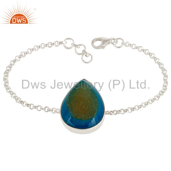 Natural Blue Druzy Agate Pear Shape Sterling Silver Chain Bracelet