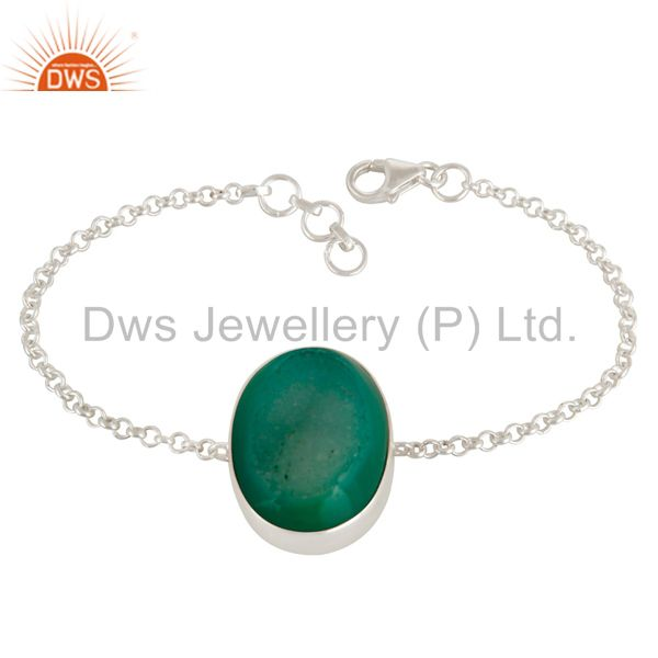 Green Druzy Agate Gemstone Fashion Bracelet In Solid Sterling Silver