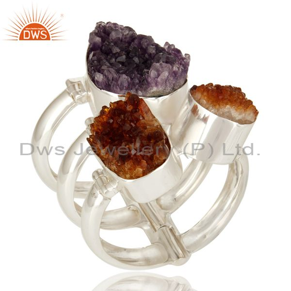 Handmade sterling silver amethyst and citrine druzy wide bangle