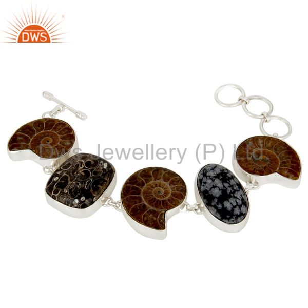 Handmade Solid Sterling Silver Ammonite And Turritella Agate Bezel Set Bracelet
