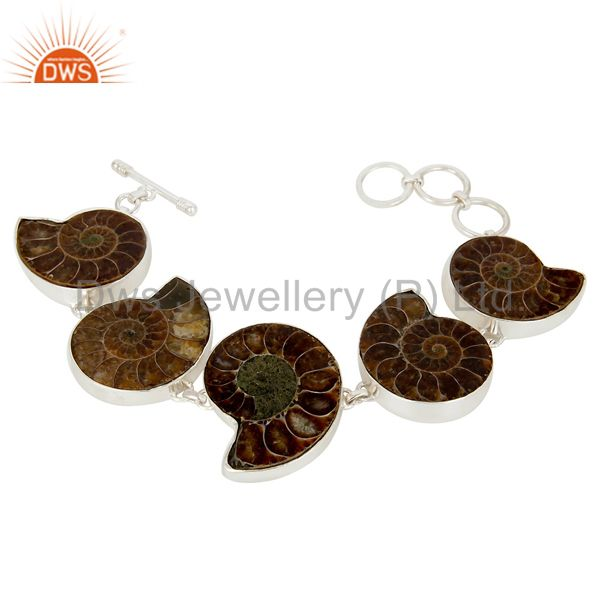 Handcrafted solid sterling silver natural ammonite bezel set bracelet