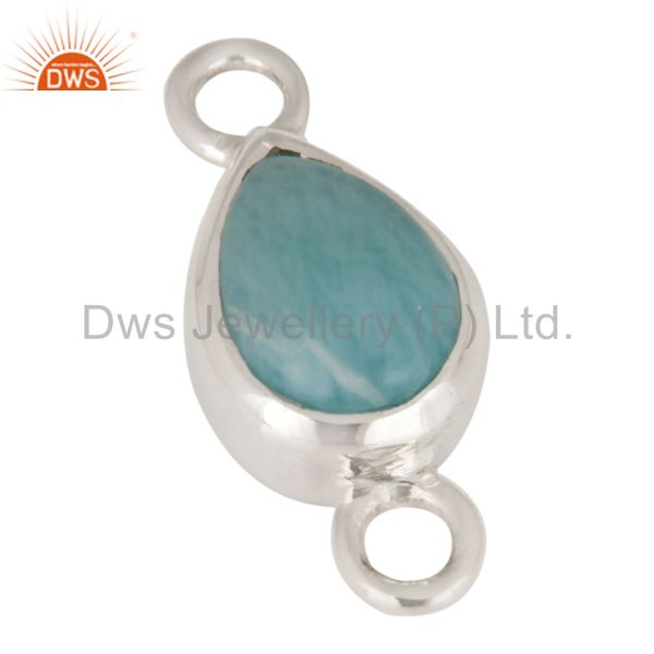 Handmade Natural Larimar Sterling Silver Bezel Gemstone Connectors Jewelry