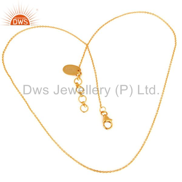 18k yellow gold plated sterling silver link chain with lobster lock