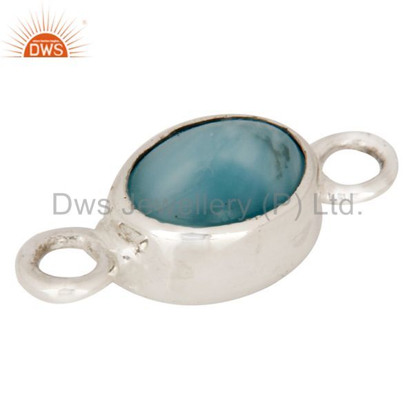 Handmade Natural Larimar 925 Sterling Silver Bezel Gemstone Connector Jewelry