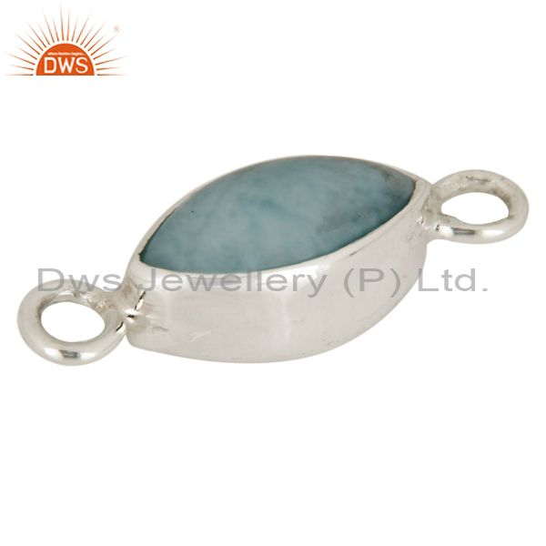 Handmade 925 sterling silver larimar gemstone connector finding jewelry