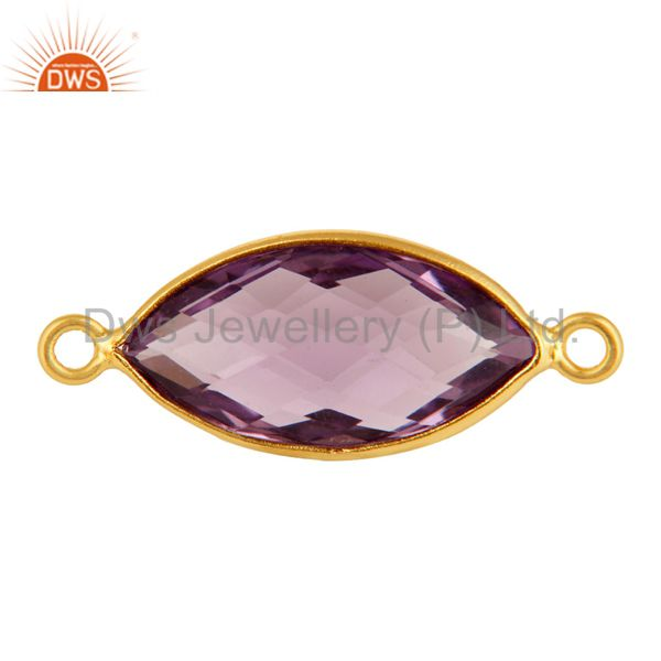 Natural Amethyst Gemstone Sterling Silver Bezel-Set Connectors - Gold Plated