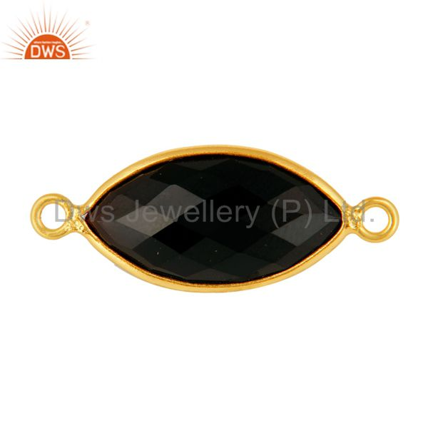 Natural Black Onyx Bezel Gemstone Sterling Silver Connectors Jewelry - Gold Verm
