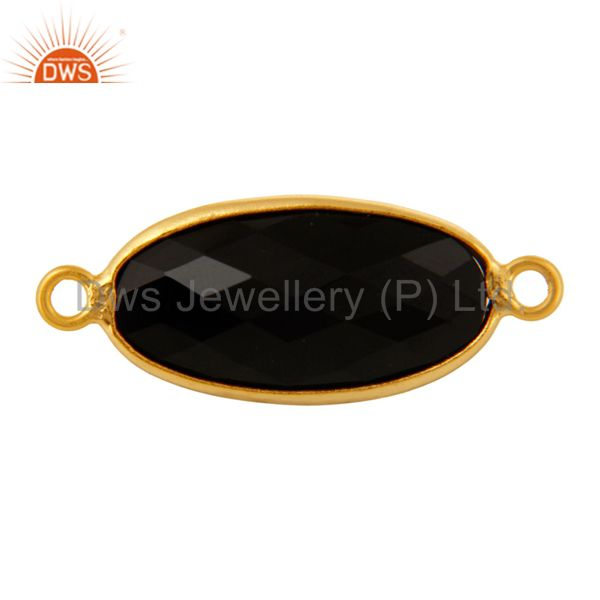 Faceted Black Onyx Bezel-Set Gemstone Sterling Silver Connectors - Gold Plated