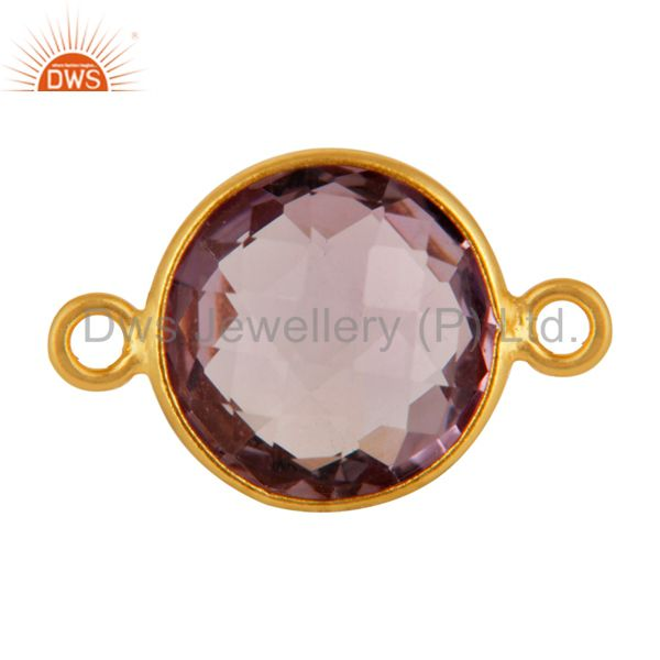 Natural Amethyst Gemstone Round Cut Sterling Silver Connector - Gold Plated