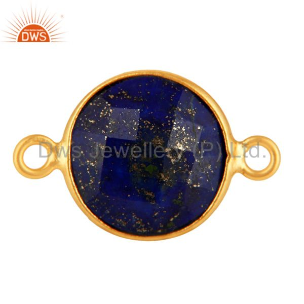 Faceted Lapis Lazuli Gemstone Gold Plated Sterling Silver Connector Jewelry