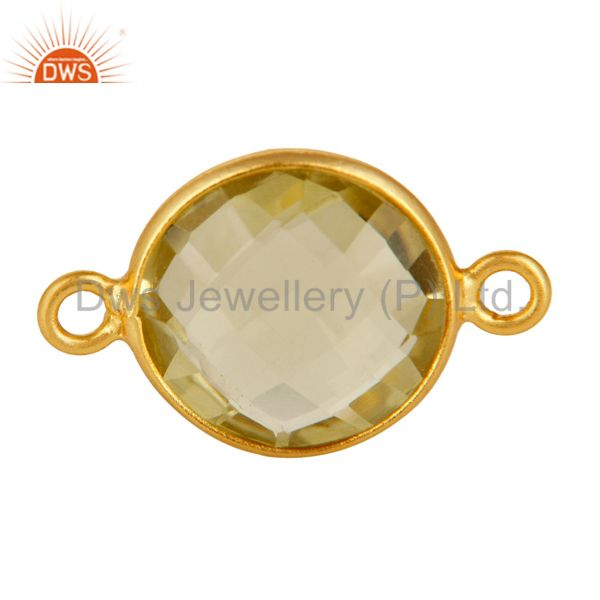 Lemon Topaz Round Checker Gold Plated Sterling Silver Handmade Bezel Connector