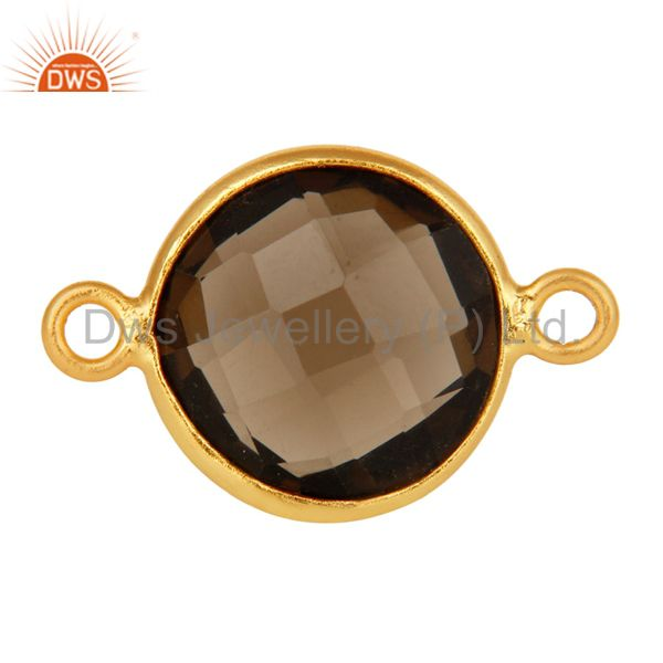 Faceted Smoky Quartz Gemstone Bezel 18K Gold Plated Sterling Silver Connector