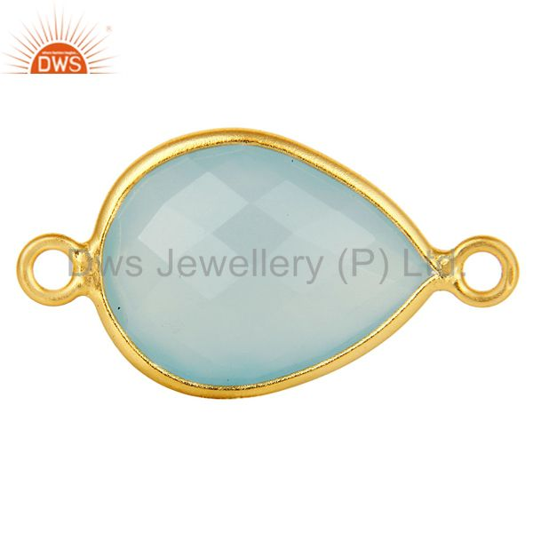 18K Yellow Gold Plated Sterling Silver Blue Chalcedony Connector Jewelry