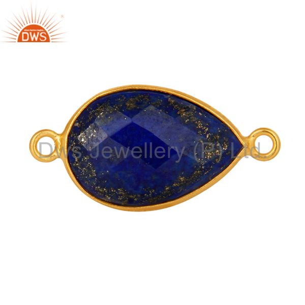 Natural Lapis Lazuli Gemstone Yellow Gold Plated Sterling Silver Connector