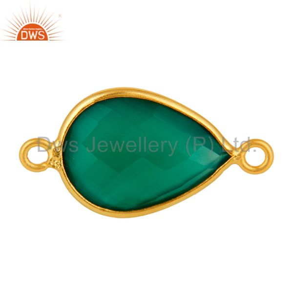 Faceted Green Onyx Sterling Silver Bezel Set Connector With Gold Plated