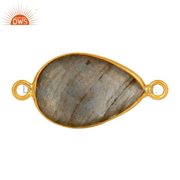 18K Gold Plated Sterling Silver Labradorite Gemstone Connector Jewelry