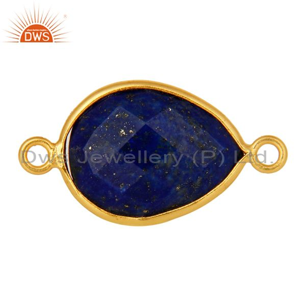 Natural Lapis Lazuli Gemstone Sterling Silver Connector With Yellow Gold Plated