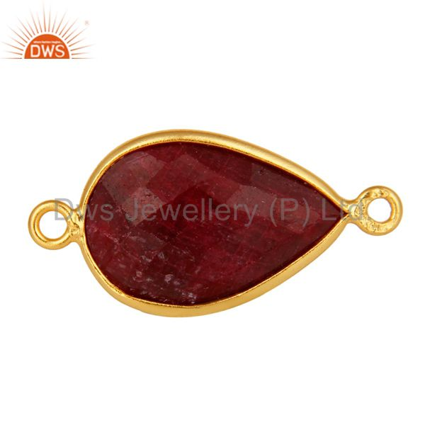 18K Yellow Gold Plated Sterling Silver Red Ruby Corundum Bezel Connector Jewelry
