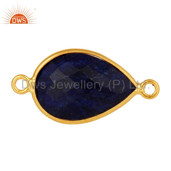 Faceted sapphire blue corundum 18k gold plated sterling silver connector