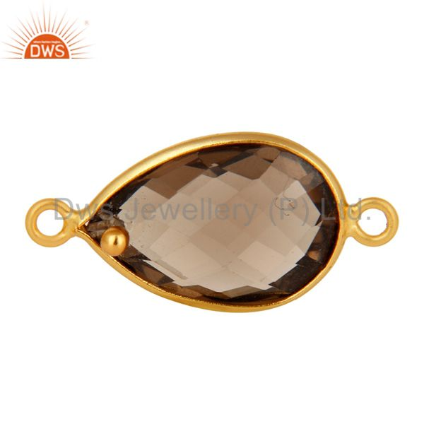18K Gold Plated Sterling Silver Smoky Quartz Bezel Connector Jewelry