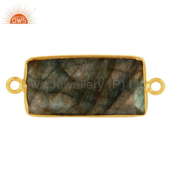 18K Gold Plated Silver Labradorite Gemstone Bezel Set Gemstone Connector Jewelry