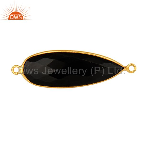 18K Gold Plated Sterling Silver Black Onyx Gemstone Connector Jewelry