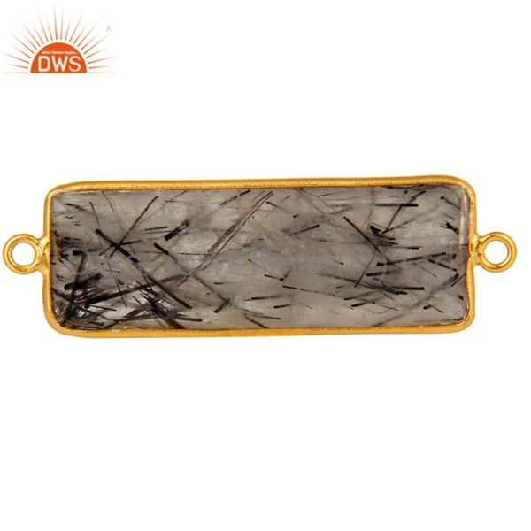 Gold Plated Sterling Silver Black Rutilated Quartz Gemstone Bezel Set Connector