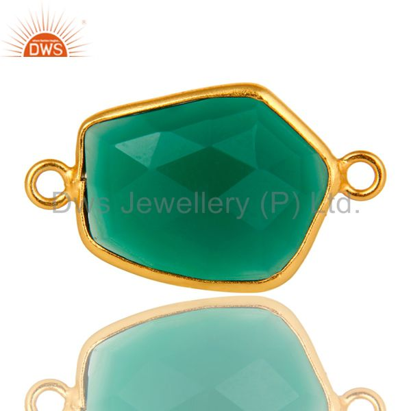 18K Yellow Gold Plated Sterling Silver Green Onyx Bezel Set Connector
