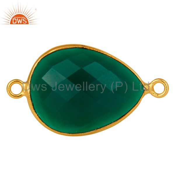 18K Gold Plated 925 Sterling Silver Green Onyx Gemstone Bezel Connector Jewelry