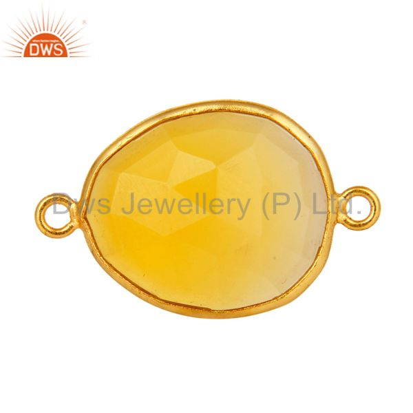 18K Yellow Gold Over Sterling Silver Yellow Moonstone Bezel Set Connector