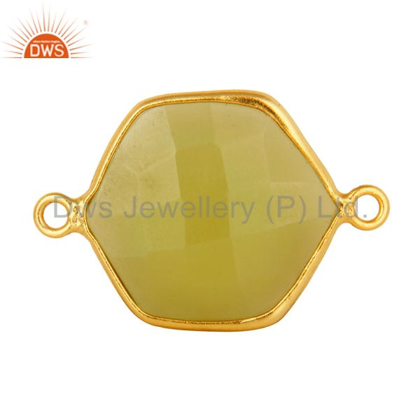 18k yellow gold plated sterling silver prehnite green chalcedony connector