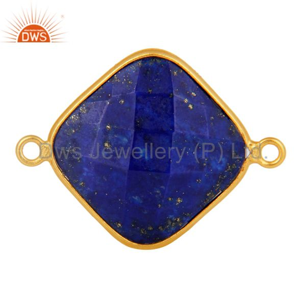 Natural Lapis Lazuli Faceted Gemstone Sterling Silver Connector With Gold Plated
