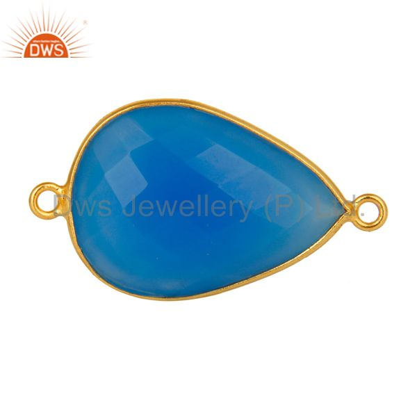 18K Gold Over Sterling Silver Dyed Blue Chalcedony Gemstone Connector Jewelry