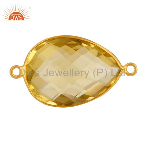 18K Gold Over sterling Lemon Topaz Bezel Double Link Connector