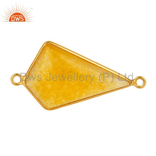 Fancy Yellow Aventurine Gemstone Sterling Silver Connector With Gold Plated