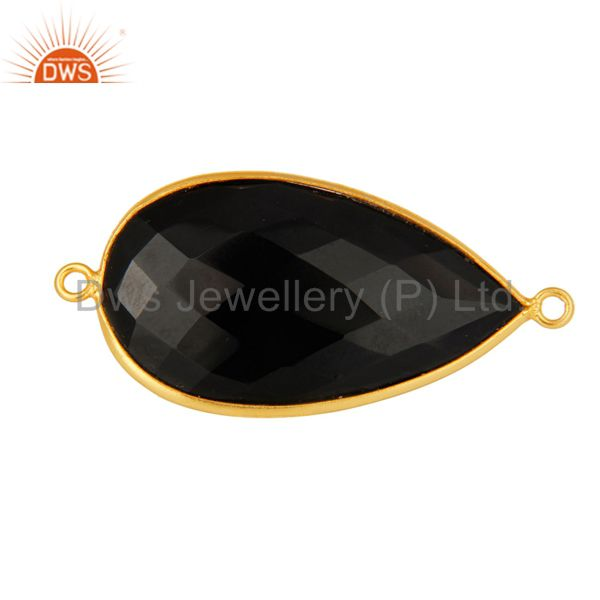 18k gold plated sterling silver black onyx gemstone connector