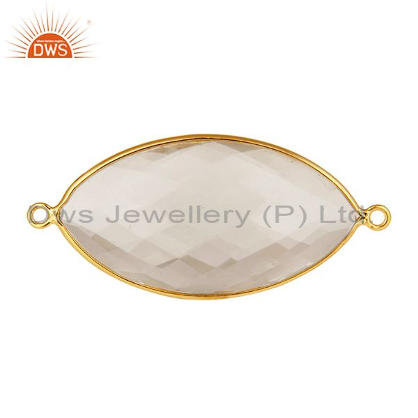 18K Yellow Gold Plated Sterling Silver Crystal Quartz Bezel Set Connector